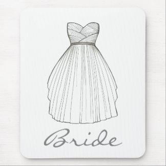 BRIDE White Bridal Gown Wedding Princess Dress Mouse Mat