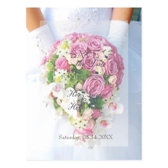 Bride White Flower Bouquet Wedding Save the Date