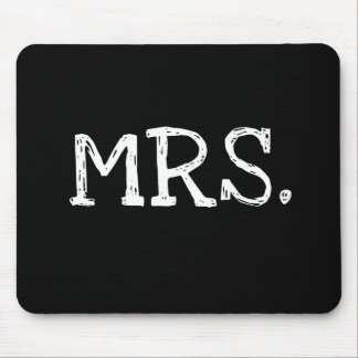 Bride White Text Mrs. Mouse Pad
