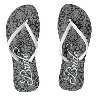 Bride with Black and White Damask Pattern Flip Flops