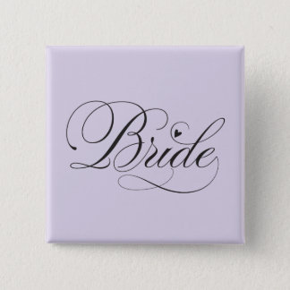 Bride with heart 15 cm square badge