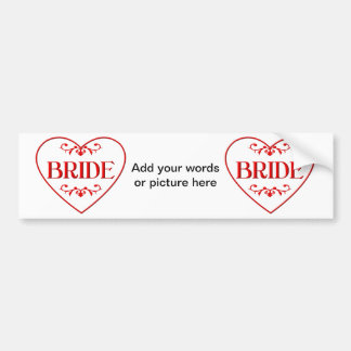 Bride (with heart and flourishes) bumper sticker