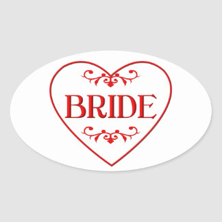 Bride (with heart and flourishes) oval sticker