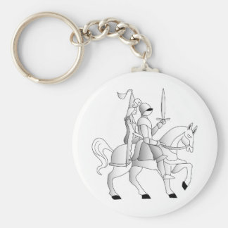 Bride with Knight in Shining Armor Basic Round Button Key Ring
