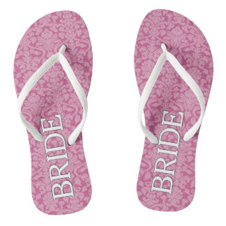 Bride with Pink and White Damask Pattern Flip Flops