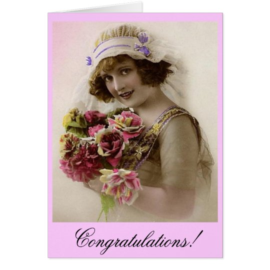 Bride with Rose bouquet Card