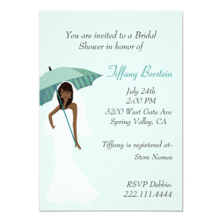 Bride with Teal Umbrella Bridal Shower Invitation