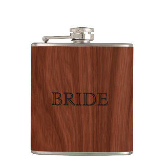 Bride Woodgrain   Elegant Wedding Party Hip Flask