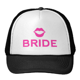 Bride word art with pink lips for t-shirt hats