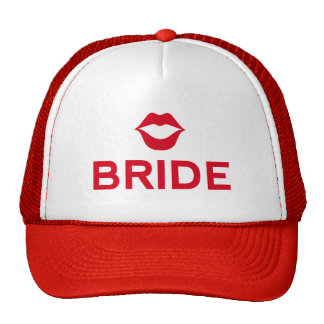 Bride word art with red lips for t-shirt mesh hats