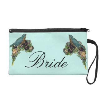 Bride Wristlet with Blue Birds & Victorian Flowers