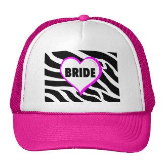 Bride  Zebra Stripes Mesh Hat