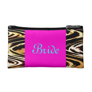 Bride Zigzag of Tiger Wedding Retro Pink Chevron Cosmetic Bag