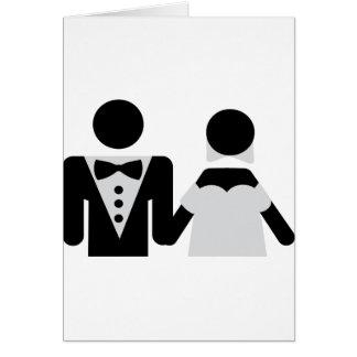 bridegroom and bride marriage icon greeting card