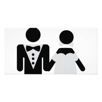 bridegroom and bride marriage icon photo card template
