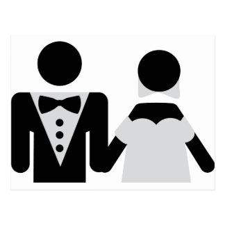 bridegroom and bride marriage icon postcards