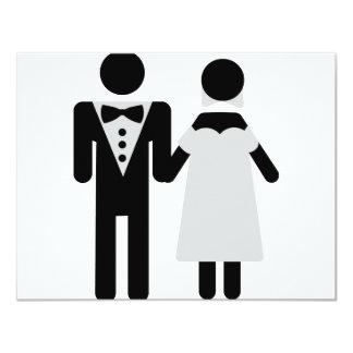 bridegroom and bride wedding icon 11 cm x 14 cm invitation card