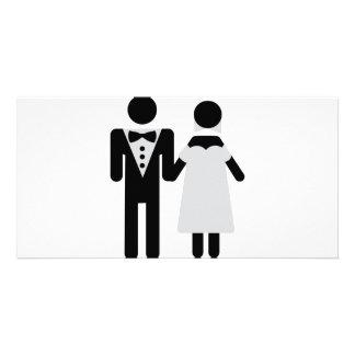 bridegroom and bride wedding icon customised photo card