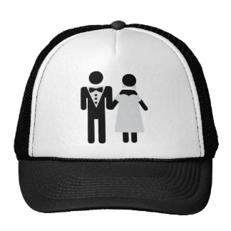 bridegroom and bride wedding icon trucker hats