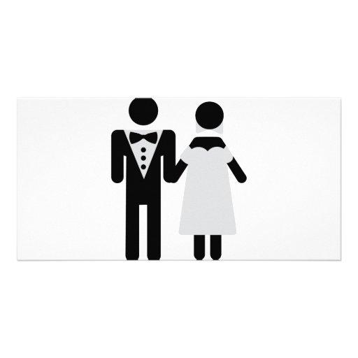bridegroom and bride wedding icon picture card