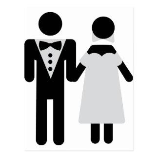 bridegroom and bride wedding icon post card