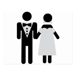 bridegroom and bride wedding icon postcard