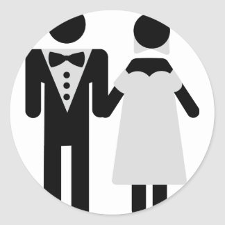 bridegroom and bride wedding icon round stickers