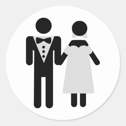 bridegroom and bride wedding icon round sticker