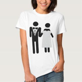 bridegroom and bride wedding icon t-shirts