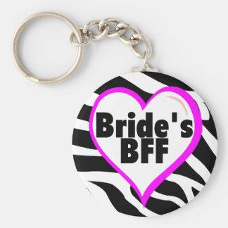 Brides BFF (Heart Zebra Print) Basic Round Button Key Ring