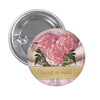 Brides Bouquet (pink) Custom Wedding 3 Cm Round Badge
