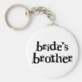 Bride's Brother Black Text Basic Round Button Key Ring