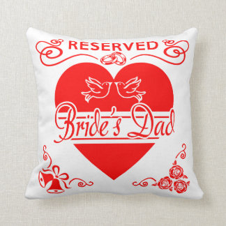 Bride's Dad Cushion. Reserved for the Bride's Dad Throw Pillow