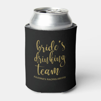 Bride's Drinking Team Gold Glitter Bachelorette Can Cooler