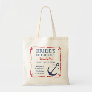 Bride's Entourage Nautical Anchor Wedding Tote Bag