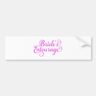 Brides Entourage, pink word art, text design Bumper Sticker