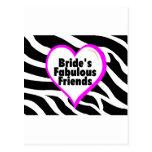 Brides Fabulous Friends Zebra Stripes Post Card