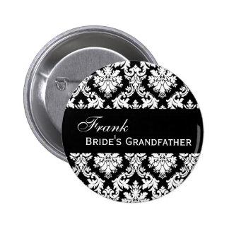 BRIDE'S GRANDFATHER Button Black and White Damask