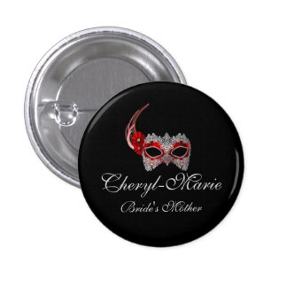"""""""Bride's Mother"""" - Red Lace Masquerade Mask 3 Cm Round Badge"""