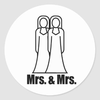 BRIDES MRS AND MRS - png Round Stickers