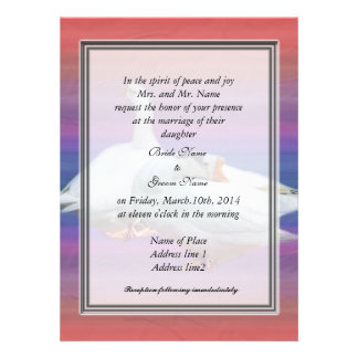 bride's parents invitation, two white geese custom announcement