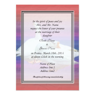 "bride's parents invitation, two white geese 5.5"" x 7.5"" invitation card"