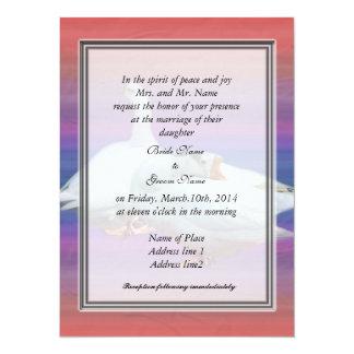 bride's parents invitation, two white geese 14 cm x 19 cm invitation card