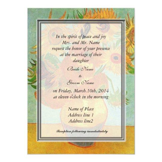 bride's parents invitation, van Gogh sunflowers Card