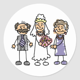 Brides Parents Wedding Day Before Ceremony Round Sticker