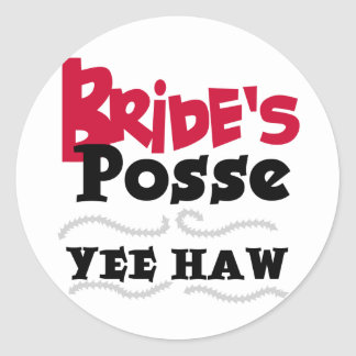 Bride's Posse Bachelorette Party Tshirts Round Sticker