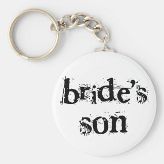 Bride's Son Black Text Basic Round Button Key Ring