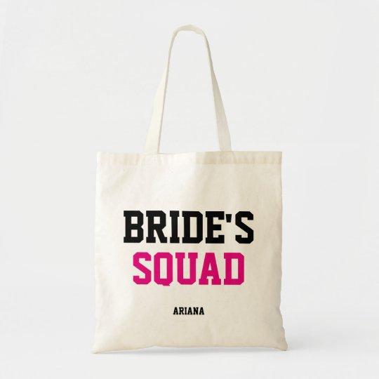 Bride's Squad Black & Pink Bridesmaid Tote Bag