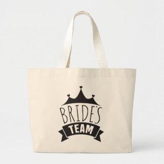 Brides Team Black Wedding Typography- Bridesmaid Large Tote Bag