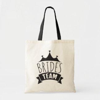 Brides Team Black Wedding Typography- Bridesmaid Tote Bag